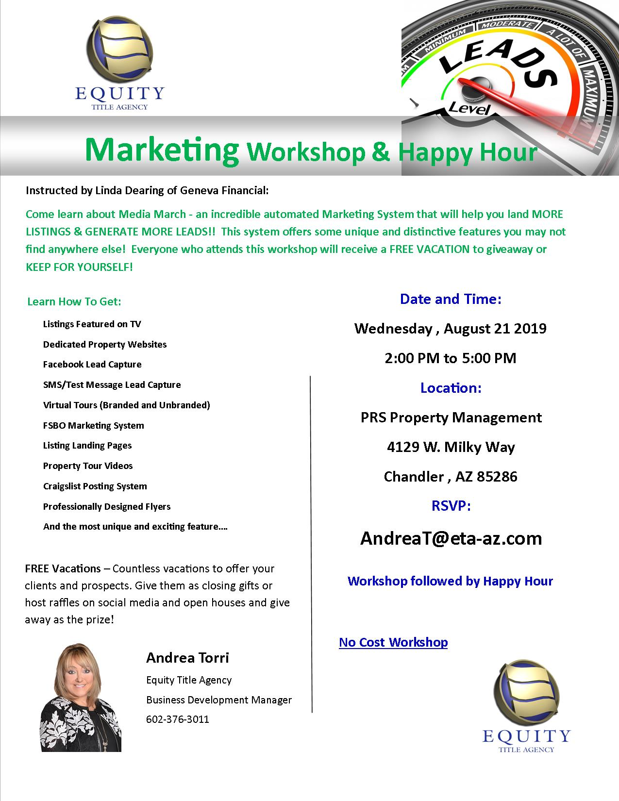 Marketing Workshop and Happy Hour